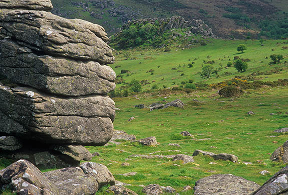 ENG: South West Region, Devon, Dartmoor National Park, Dartmoor's Southern Edge, Hound Tor, View from Hound Tor [Ask for #268.528.]