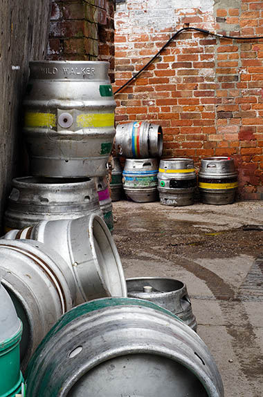 ENG: West Midlands Region, Staffordshire, The Trent Valley, Burton-on-Trent, Burton Bridge Brewery, Town Center, Aluminum casks behind the brewery, waiting to be filled [Ask for #270.240.]