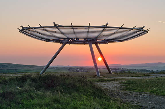 ENG: The Northwest Region, Lancashire, The Pennines, Rossendale, Haslingden, The Halo Panopticon at sunset [Ask for #270.340.]