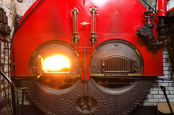 ENG: The Northwest Region, Lancashire, The Pennines, Burnley Borough, Briercliffe, Queen Street Mill, Boilers that fire the steam engine which still runs this functioning Victorian textile factory [Ask for #270.387.]